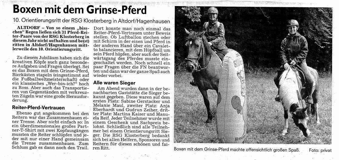 Zeitungsartikel ORitt