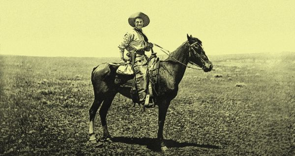 A cowboy on horseback. (Verändert) (c) Detroit Publishing Co. - Library of Congress