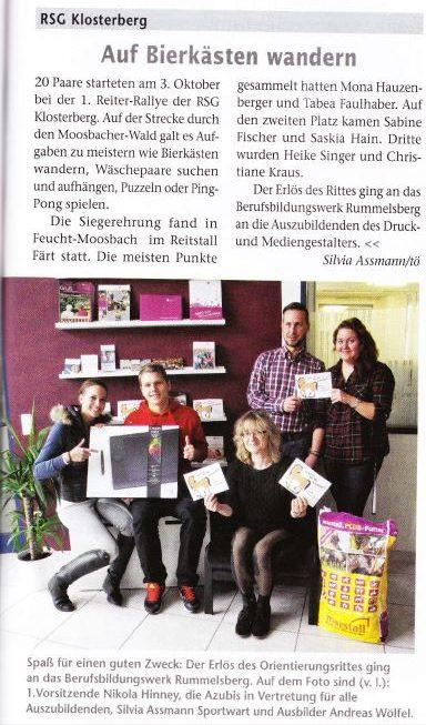 """Zeitungsartikel in der """"Bayerns Pferde"""""""